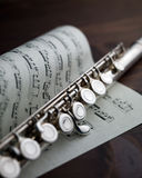 Flute on musical score Stock Image
