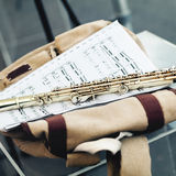 Flute with notes Stock Photography