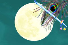 Flute and peacock feather over moon background. Yoga Religion hinduism meditation related Blog art banner web design concept background royalty free stock photos