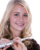 Flute Player Isolated on White Stock Images