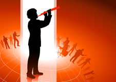 Flute Player on Red background Royalty Free Stock Photo