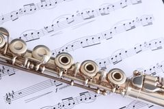 Flute and Sheet Music Stock Photo