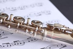 Flute and Sheet Music Stock Image