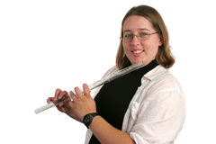 Flute Student 1. A young college student learning to play the flute Stock Image