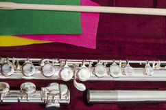 Flute wind instrument in box Royalty Free Stock Images