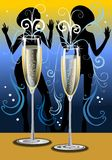 Fluted champagne glasses with dancing girls silhou. Ettes, 300 dpi JPG illustration Stock Image