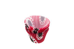 Fluted colored Paper Cake Cases. Some baking cups isolated on white Royalty Free Stock Photography