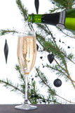 Fluted glass filled with champagne wine Stock Photography