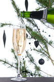 Fluted glass filled with champagne wine Stock Image