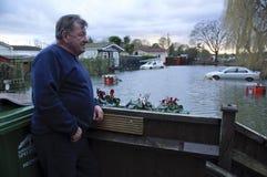 Fluten in Chertsey Großbritannien 2014 Lizenzfreies Stockbild