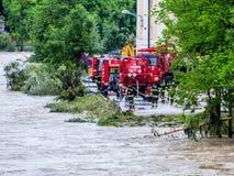 Fluten im Jahre 2013 im steyr, Österreich Stockbilder