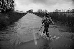 Fluten Muchelney Somerset Levels Großbritannien 2014 lizenzfreie stockfotografie