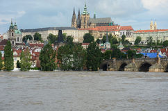 Fluten in Prag Stockfotos