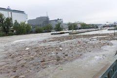 Fluten Prag im Juni 2013 Stockfotos