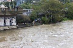 Fluten Prag im Juni 2013 - Obdachloser Lager Stockfotografie