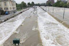Fluten Prag im Juni 2013 - Stvanice-Insel Verschlussüberschwemmung Stockfotos