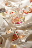 Flutes. Toasting flutes of the bride and groom Stock Photo