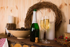Flutes and bottle of champagne Royalty Free Stock Photo