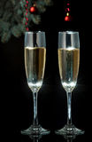 Flutes of champagne in holiday setting. Stock Photo