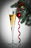 Flutes of champagne in holiday setting. Stock Image