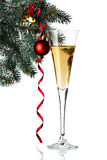 Flutes of champagne in holiday setting. Stock Images