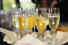 Flutes of chilled white champagne Stock Photo