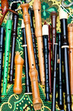 Flutes of different types  on a  bright background Royalty Free Stock Images