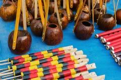 Flutes and monochords,  Indian handicrafts fair at Kolkata Royalty Free Stock Images
