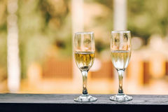Flutes or two glasses of champagne Stock Photo