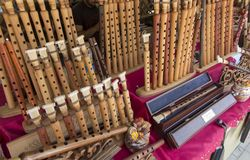 Flutes and various regional wind musical instruments at the mark Stock Photography