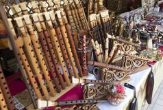 Flutes and various regional wind musical instruments at the mark Stock Photos