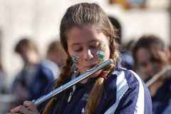 Flutist in the New York St. Patrick's Day Parade Royalty Free Stock Photo