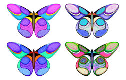 Flutter bys. Drawn butterflies Stock Illustration