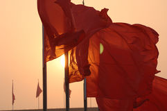 Flutter Red flag in Tiananmen Square during the National Day of China Stock Images