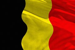 Waving Belgium flag for using as texture or background, the flag is fluttering on the wind. Fluttering Belgium flag for using as texture or background, the flag stock photography