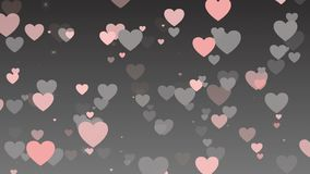 Valentine`s day background, colorful hearts fluttering on gray background. Fluttering Colorful hearts , gray background stock footage