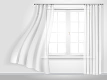 Fluttering curtains and window Royalty Free Stock Image