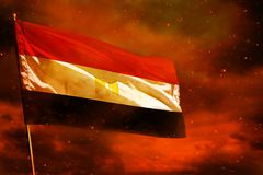Fluttering Egypt flag on crimson red sky with smoke pillars background. Troubles concept. Fluttering Egypt flag on crimson red sky with smoke pillars background vector illustration
