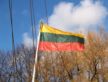Fluttering flag of the Lithuanian republic Royalty Free Stock Photos