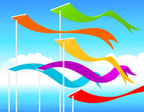 Fluttering flags Royalty Free Stock Photo