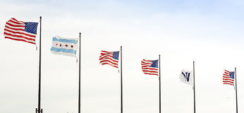 Fluttering Flags in Chicago Royalty Free Stock Photography