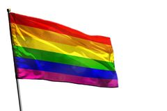 Fluttering Gay Pride flag on clear white background isolated. Fluttering Gay Pride flag isolated on white background stock image