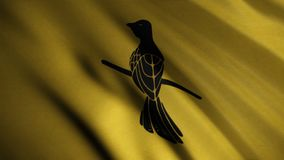 Fluttering golden flag with a mockingbird sitting on a small branch, seamless loop. Baelish house emblem, game of. Thrones concept stock image