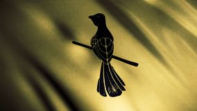 Fluttering golden flag with a mockingbird sitting on a small branch, seamless loop. Baelish house emblem, game of. Thrones concept stock photography