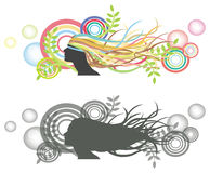 Fluttering hair on dummy with bubble backdrop. Fluttering hair on woman dummy with bubble backdrop. Silhouette and colorful version Royalty Free Stock Image