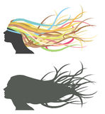 Fluttering hair on woman dummy. Silhouette and colorful version Royalty Free Stock Image