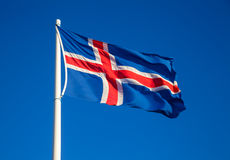 Fluttering Icelandic flag Royalty Free Stock Photography