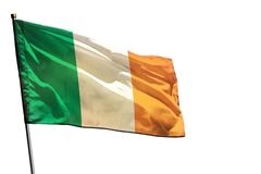 Fluttering Ireland flag on clear white background isolated. Fluttering Ireland flag isolated on white background stock image