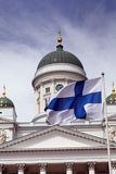 Fluttering national flag of Finland Stock Photography