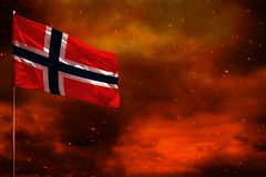 Fluttering Norway flag mockup with blank space for your text on crimson red sky with smoke pillars background. Troubles concept. Fluttering Norway flag mockup royalty free stock photos